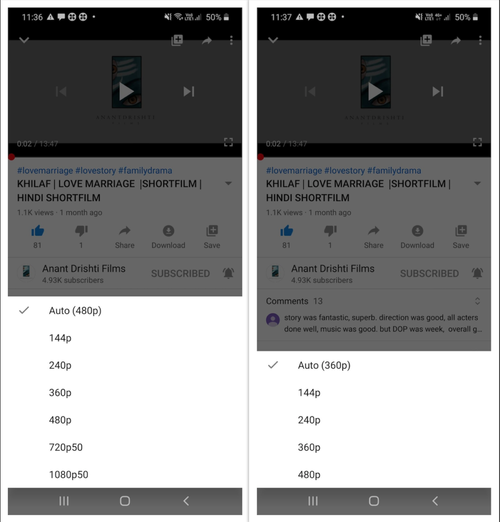 YouTube HD with Wi-Fi and Mobile data